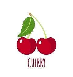 Cherry icon in flat style on white background vector
