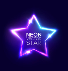 Abstract neon star electric frame night club sign vector
