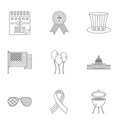 American independence day icon set outline style vector