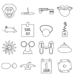 April fools day icons set outline style vector