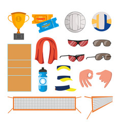 beach volleyball icons set volleyball vector image vector image
