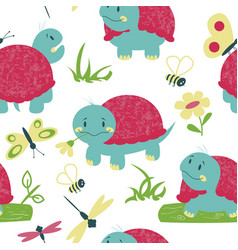 Cartoon turtles with insects seamless pattern vector