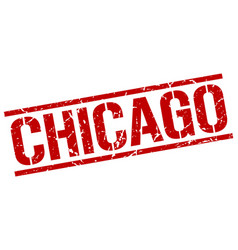 Chicago red square stamp vector