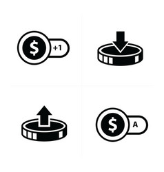 Coin and bubbles icon 4 styles vector