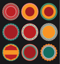 collection of mexican round decorative border vector image
