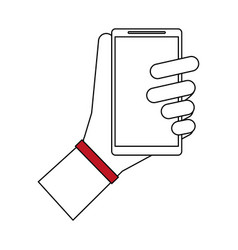 Color silhouette cartoon hand holding smartphone vector