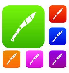 Crooked knife set color collection vector