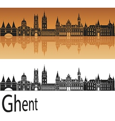 Ghent skyline in orange vector
