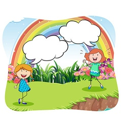 Girls in the park with bubble speech vector image vector image