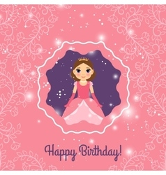 Happy Birthday pink princess greeting card vector image