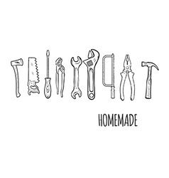 Homemade hand tools background illsutration vector