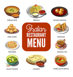 indian cuisine food traditional dishes flat vector image