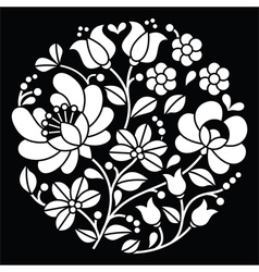 Kalocsai white embroidery - Hungarian round floral vector image vector image