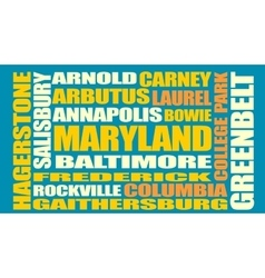 Maryland state cities list vector image