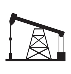 Oil drilling rig silhouette vector