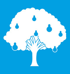 Pear tree with pears icon white vector