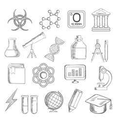 Science and education sketched icons vector image