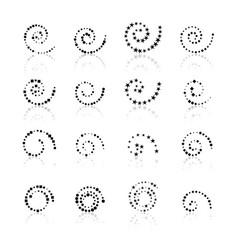 Set dotted spirals vector