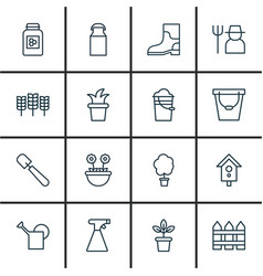 Set of 16 holticulture icons includes shovel vector