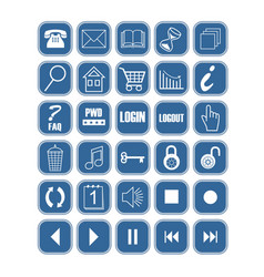 set of blue office and web icons with white vector image vector image