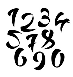 Set of calligraphic ink numbers design vector