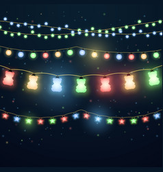 set of colorful light garlands vector image vector image