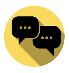 speech bubbles sign flat black icon with vector image