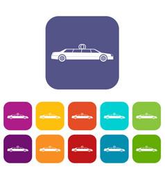 Wedding car decoration icons set vector