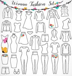 Woman fashion set vector