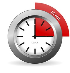 Clock 15 Minutes To Go vector image