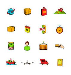 logistics comics icons set cartoon vector image