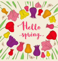 Background with tulips vector