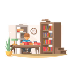 Student reads book in library vector