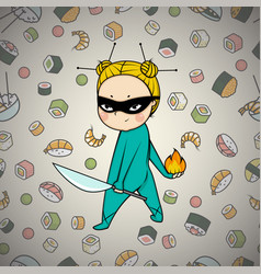 Sushi hero chef of japanese cuisine vector