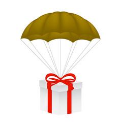 gift box at brown parachute vector image