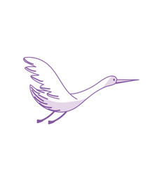Silhouette beauty stork animal with wings vector