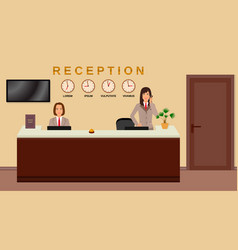 Hotel reception service business office desk vector