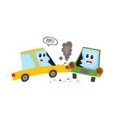 Flat cartoon car crash accident isolated vector