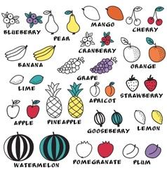 Set of doodle fruits - for scrapbook or design vector image