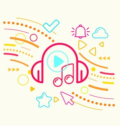 Headphones and note on abstract colorful geometric vector