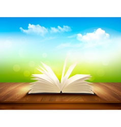Open book on a wooden deck with green and blue vector