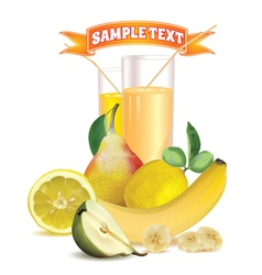 Glasses with juice lemon banana and pear vector