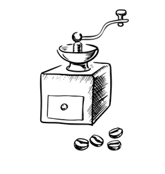 Manual coffee grinder with beans vector image