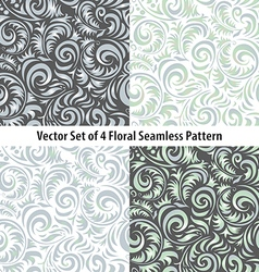 Seamless patterns set floral grey vector
