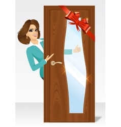 Woman behind the door vector