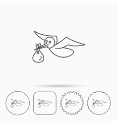 Stork with sack icon newborn baby symbol vector