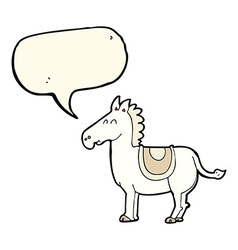 Cartoon donkey with speech bubble vector