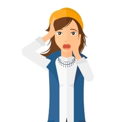 Scared woman with open mouth vector