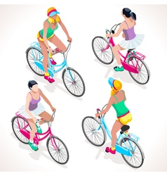 Girl teen cycling isometric people vector