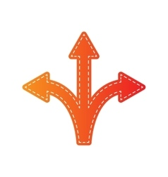 Three-way direction arrow sign orange applique vector